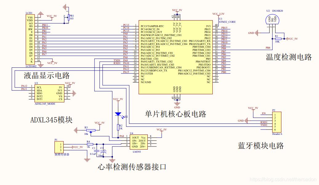 141【毕设课设】基于STM32蓝牙智能手环脉搏心率计步器体温显示设计