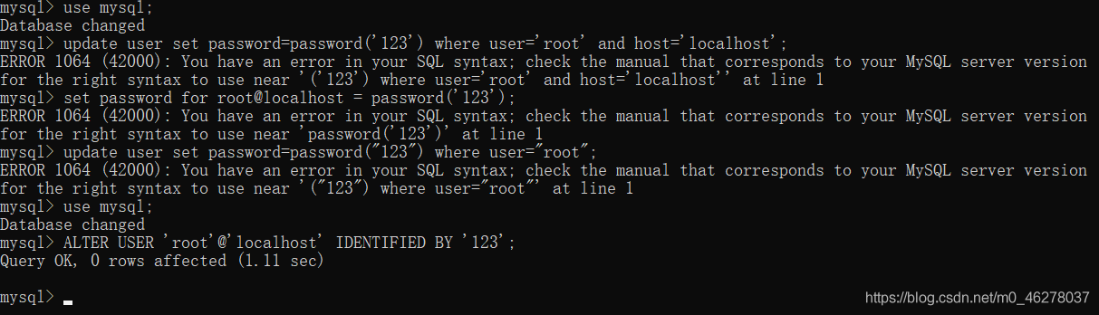 ERROR 1045 (28000): Access denied for user 'root'@'localhost' (using password: NO)解决办法