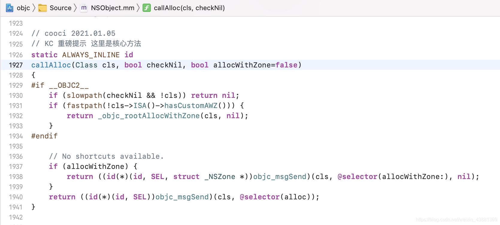 2021-06-03 iOS的alloc的底层代码流程