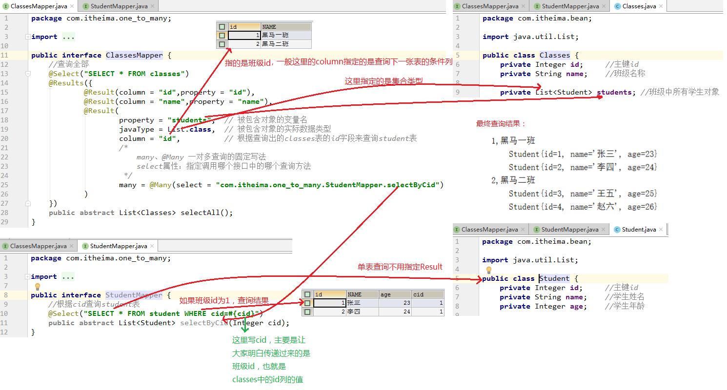 Mybatis高级:Mybatis注解开发单表操作,Mybatis注解开发多表操作,构建sql语句,综合案例学生管理系统使用接口注解方式优化