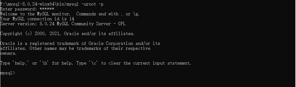 Windows系统安装MySQL8.0.24
