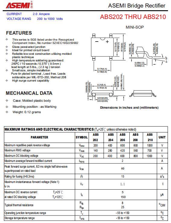 ABS210-ASEMI高品质贴片整流桥堆