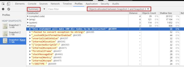 使用Chrome开发者工具分析JavaScript garbage collector(垃圾回收器)
